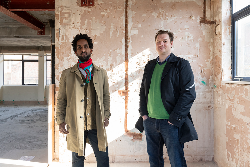 Jonathan Hagos (left) and Tom Bell (right) at Freehaus Design's Africa Centre currently under construction in Southwark.