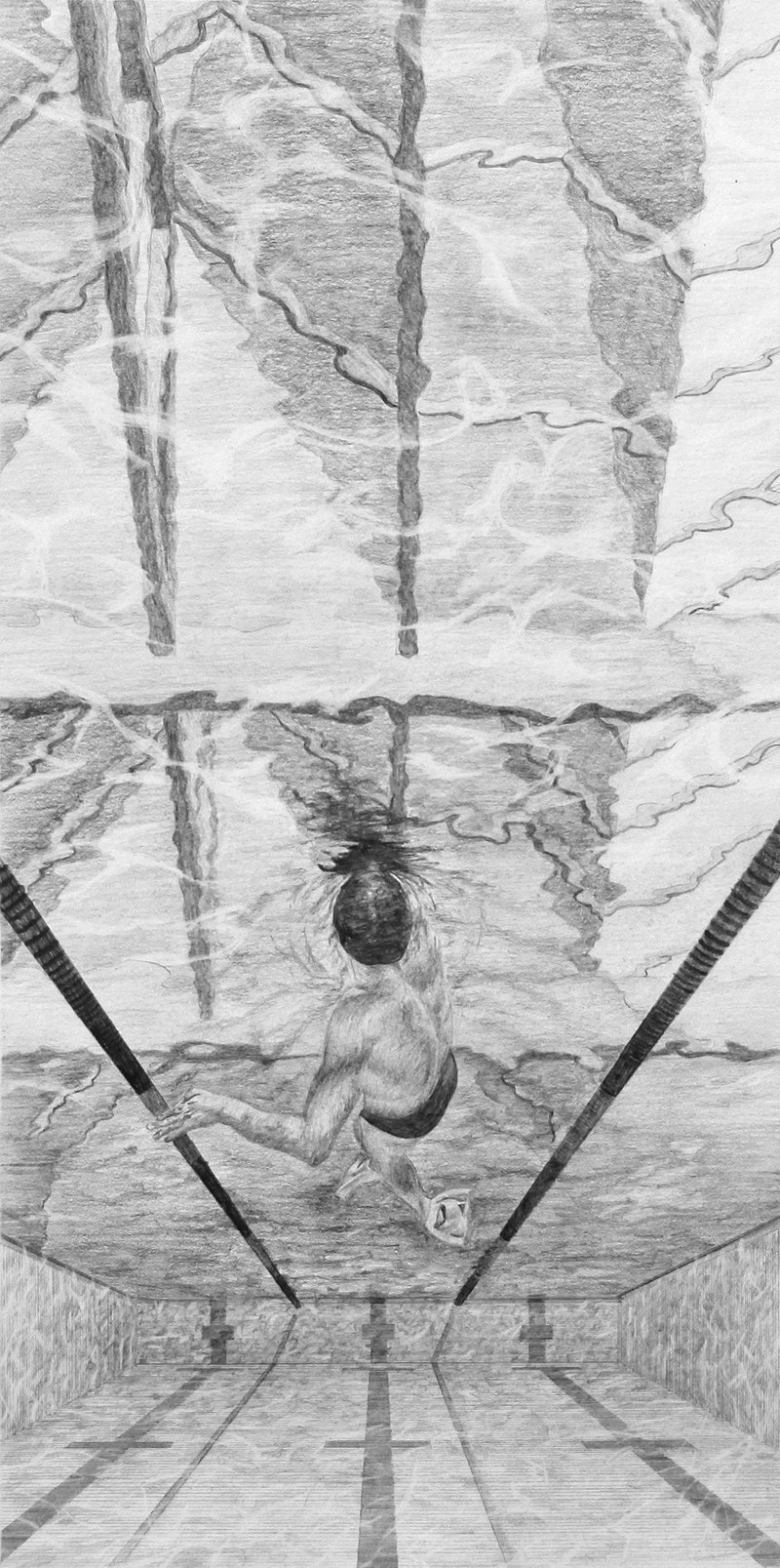 Under the Fifth Facade:  A Swimmer's Perspective. Hand drawn pencil study,  200mm × 400mm presented on A2.