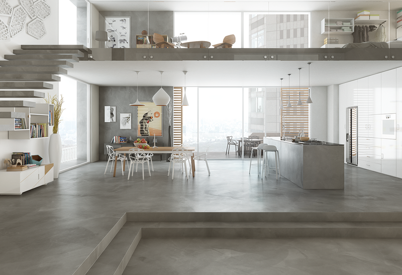 Mapei Utratop Loft cement-based flooring and wall covering in a residential setting.