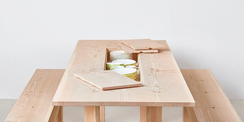 Space saver: Planks dining table and benches designed by Max Lamb for Benchmark.