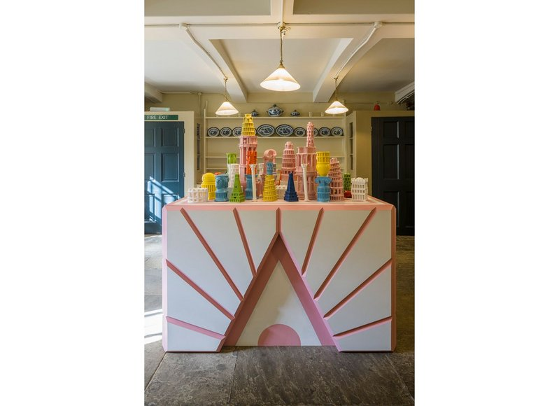 The Roman Singularity's array of 3D-printed ceramics is displayed on a bespoke plinth, also designed by Adam Nathaniel Furman
