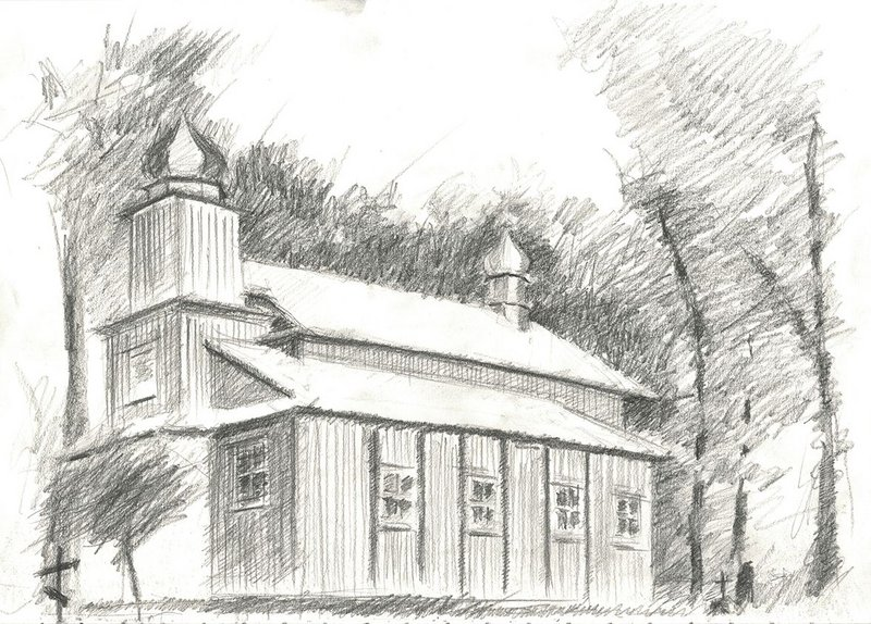 The Church of Protection of Our Lady, in Hanchary, Belarus, built in 1774. Sketch from life, 2012.