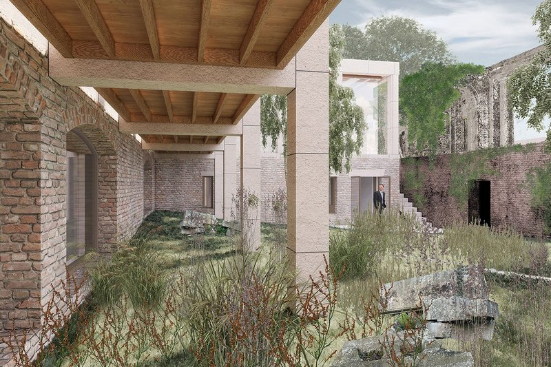 The stone ruins (on the right) are re-used as the fourth wing of the new house to create a sunken courtyard garden, which also preserves something of the existing 'forgotten' character of the site.