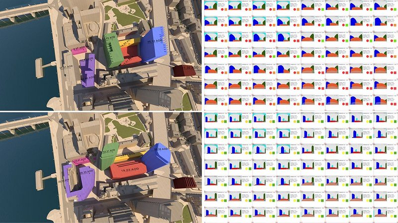 Comparison of the daylight & sunlight analysis for 8 Albert Embankment development proposals showing the rejected inquiry scheme (above) against Pilbrow & Partners' winning bid proposals (below) minimizing daylight losses to neighbouring properties.