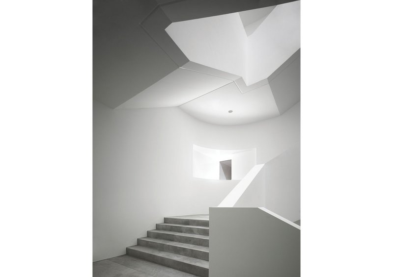 Rendered cheaply and modestly in plasterboard, the Hospitalhof's staircases nevertheless have a deeply sculptural quality.