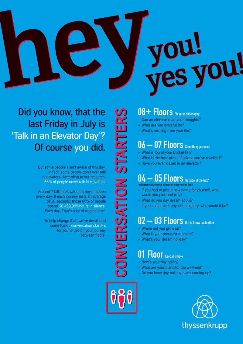 Thyssenkrupp's 'Elevator Conversation Starter Guide'.