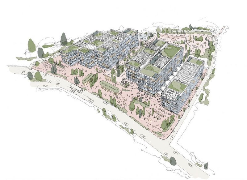 As well as diversifying building uses, business parks could create richer, more communal centres as Apt's concept sketch shows