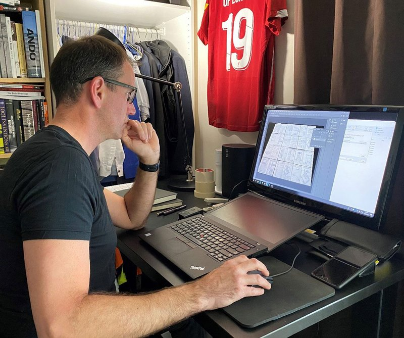 Mark Powell Kyffin, Architecture Head at Abu Dhabi's Department of Culture and Tourism, working remotely from home.