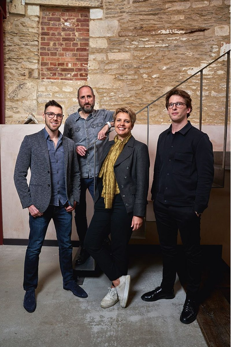Adam Chambers, Matt Vaudin, Nicola du Pisanie and Ross McDonald in the new Corsham studio.