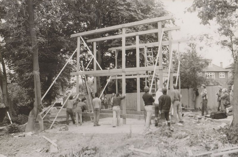Erecting the structure.