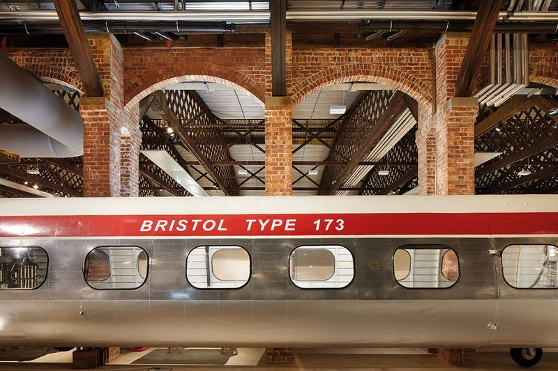 The Bristol Type 173 double rotor helicopter was a prototype that was developed through the late 50s and 60s – but is invested with a contrasting modernity by its positioning alongside the brick piers.