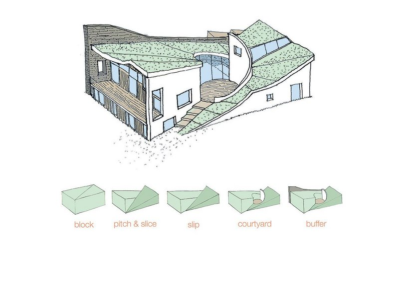 Diagram showing how the two volumes stitch together around the courtyard.