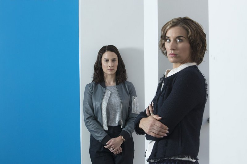 Ellen (Morven Christie) and her maternity cover Paula (Vicky McClure) in The Replacement, a BBC thriller set in a Glasgow architectural practice.